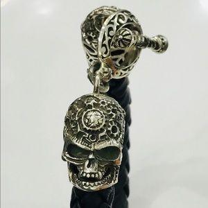 925 sterling silver skull leather bracelet